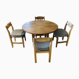 Dining Table & Chairs Set, 1970s, Set of 5