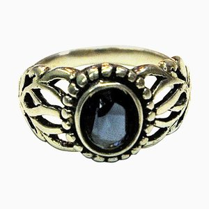Classic Blue Swedish Oval Stone Silver Ring, 1940s