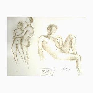 Salvador Dali - Akt Paare - Original handsigniert Lithografie 1970