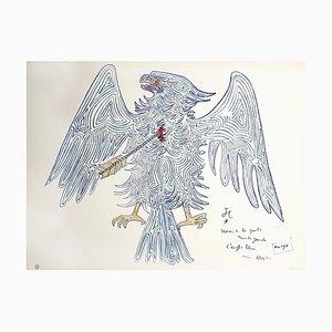 Jean Cocteau - Blauer Adler - Original Lithographie von 1956