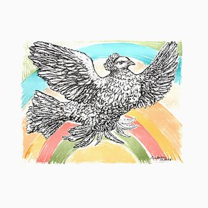 after Pablo Picasso - Flying Dove with a Rainbow - Lithograph 1952