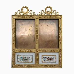 Antique Gilded Bronze Frame and Painted Porcelain Plaque