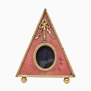 Pyramid-Shaped Photo Frame in Gilded Bronze and Enamel