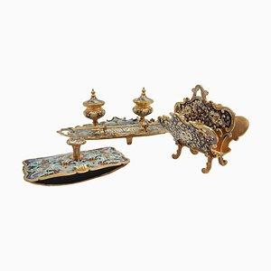 Napoleon III Cloisonné Schreibtisch Set aus Bronze, 4er Set, frühes 20. Jh