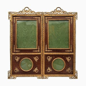 Frame Forming a Small 2-Leaf Screen in Gilt Bronze and Leather
