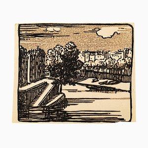 Woodcut Print, Mid 20th Century