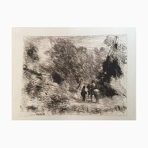 Two Men and a Horse, 20th Century, Etching