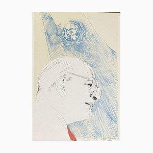 Nani Tedeschi, Craxi at the UN, 20th Century, Lithograph