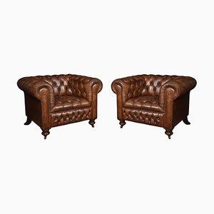 Antike Chesterfield Ledersessel, 2er Set