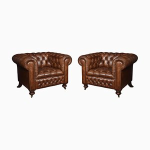 Antique Leather Chesterfield Club Chairs, Set of 2
