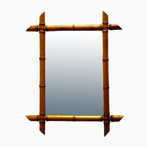 Small Mirror with Faux Bamboo Frame