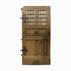 Antique Oak Door with Window and Carved Panels, Original Irons, France, 1700