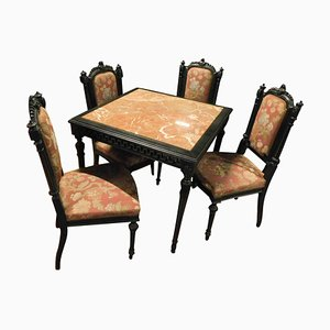 Black and Red Dining Set, 1940s, Set of 7
