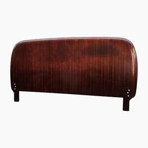Italian Walnut Veneer Wood Queen Bed Headboard, 1950s