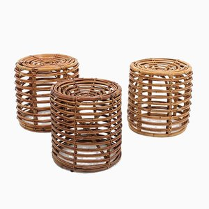 Rattan Stools by Tito Agnoli, 1960s, Set of 3