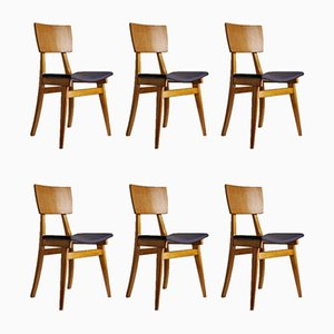 French Modern Side Chairs, 1950s, Set of 6