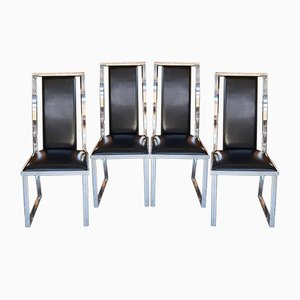 Leather & Chrome Dining Chair by Michel Mangematin, 1970s