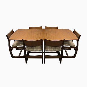 Dining Table from Portwood of Stockport, 1960s, Set of 7