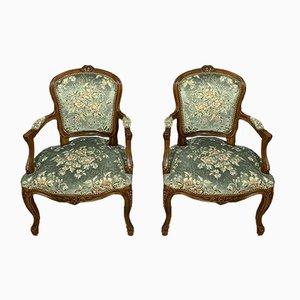 Louis XV Armlehnstühle aus Nussholz, 2er Set