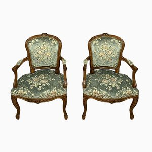 Louis XV Walnut Armchairs, Set of 2