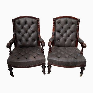 Victorian Mahogany & Leather Button Back Library Chairs, Set of 2