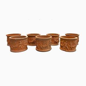 Mid-Century Gartenvasen aus Terrakotta, 6er Set