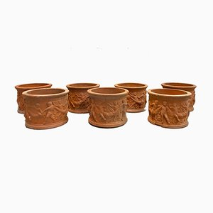 Mid-Century Terracotta Garden Vases, Set of 6