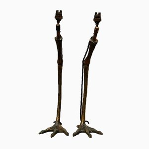 Vintage Bronze Heron Feet Table Lamps, 1950s, Set of 2