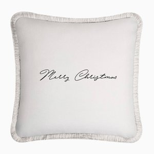 White Christmas Happy Pillow by Lorenza Briola