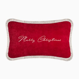 Red Christmas Happy Pillow by Lorenza Briola