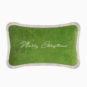 Green Christmas Happy Pillow by Lorenza Briola
