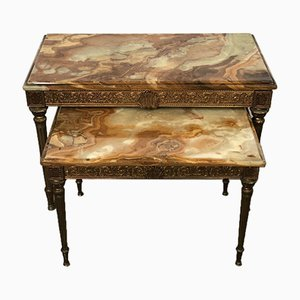 Marble and Brass Nesting Tables, 1960s, Set of 2