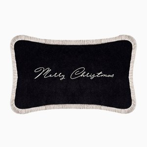 Black Christmas Happy Pillow by Lorenza Briola