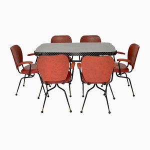 Vintage Atomic Dining Table & Chairs, 1950s, Set of 7