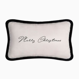 White and Black Christmas Happy Pillow by Lorenza Briola
