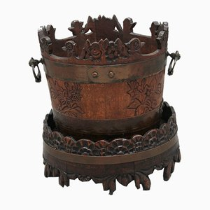 19th-Century Carved Oak Basket on Stand