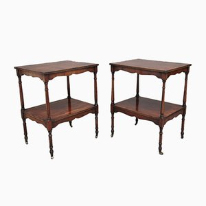 Yew Wood Occasional Tables, 1940s, Set of 2