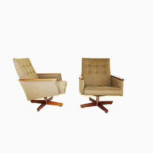 Walnut Swivel Chair, 1950s, Set of 2
