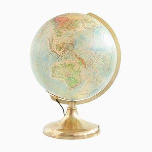 Vintage German Brass Illuminated Glass Globe from JRO Verlag
