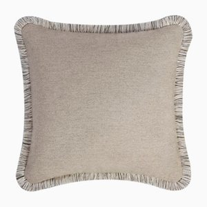 Beige Wool Artic Pillow by Lorenza Briola