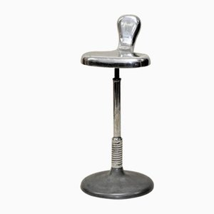 Italian Steel Dentist Stool with Anatomical Saddle Shape Seat, 1950s