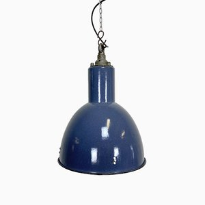 Vintage Industrial Blue Enamel Bauhaus Lamp, 1930s