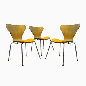 Sillas de comedor vintage de Arne Jacobsen para Fritz Hansen. Juego de 3