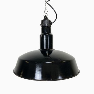 Mid-Century Industrial Black Enamel Factory Lamp, 1950s