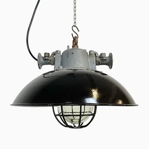 Industrial Black Enamel and Cast Iron Cage Pendant Lamp, 1950s
