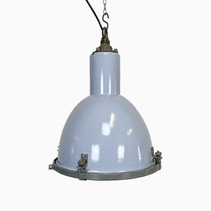 Industrial Vintage Grey Enamel Lamp with Glass Cover