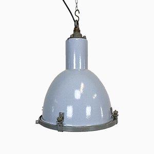 Industrielle Graue Vintage Emaille Lampe mit Glasabdeckung