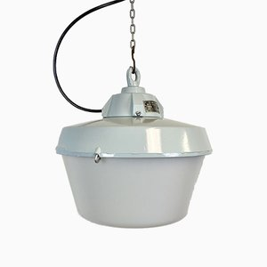 Industrial Grey Cast Aluminium Pendant Light, 1970s