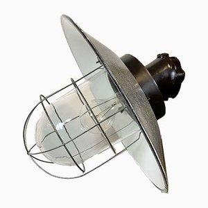Industrielle Graue Vintage Emaille Wandlampe, 1960er