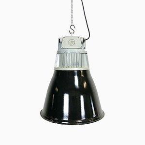 Lampada a sospensione vintage industriale smaltata nera, anni '60